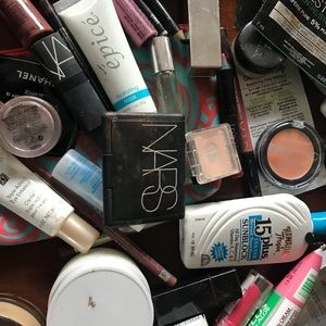 Assorted new and used cosmetics